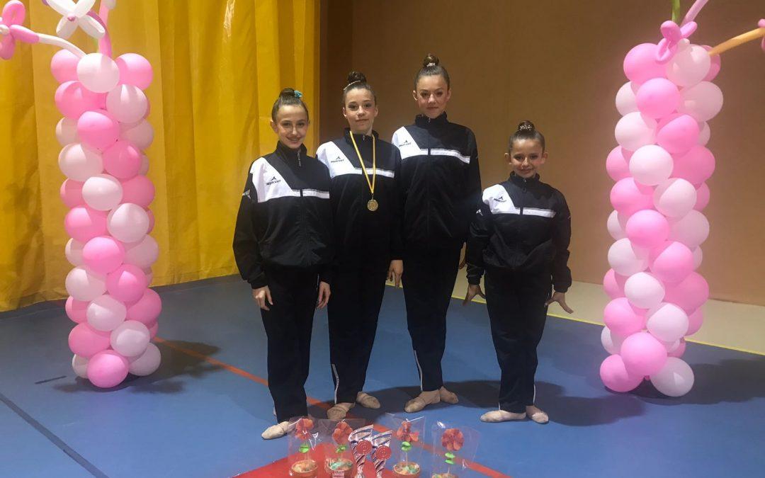 Podium del C.D.E. Rítmica Meraki en torneos en Morata de Tajuña y Alcorcón