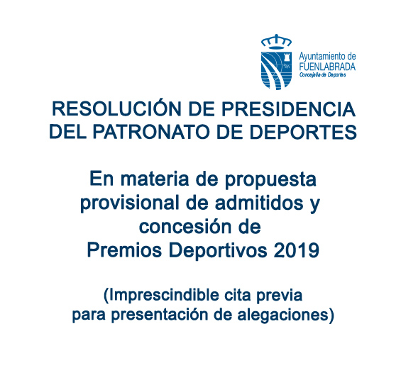 Resolución de Presidencia del Patronato Municipal de Deportes de Fuenlabrada en materia de suspensión de tarifas
